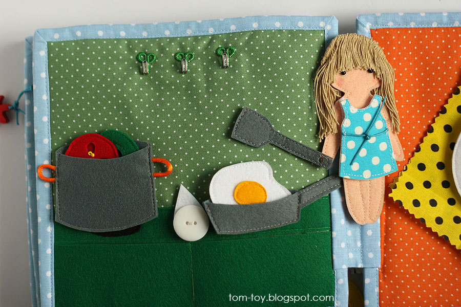 Quiet book for Imagine, Handmade fabric busy book for a girl, развивающая книжка для девочки