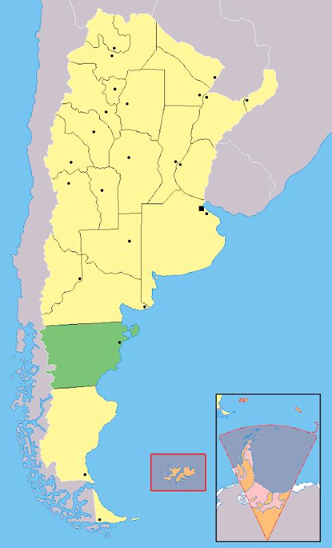 Mapa da localização da província de Chubut - Argentina