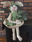 "Handmade Primitive Folk Art ""Lila Bunny Doll"
