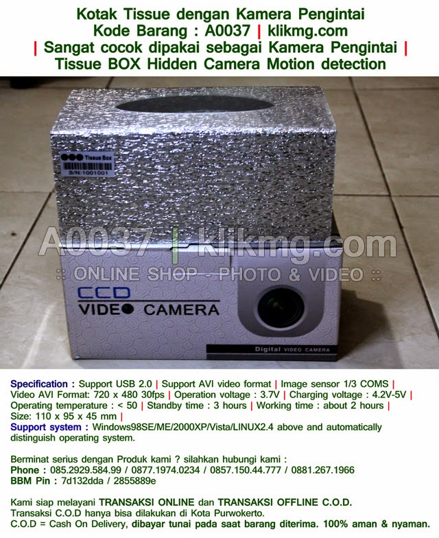 Kotak Tissue dengan Kamera Pengintai - Kode Barang : A0037 | Sangat cocok dipakai sebagai Kamera Pengintai | Tissue BOX Hidden Camera Motion detection