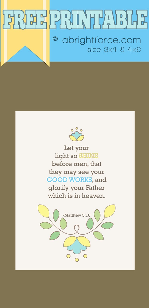My Sunday: Let your light SHINE free printable