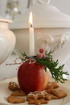 pomme bougeoir et sablé de Noel