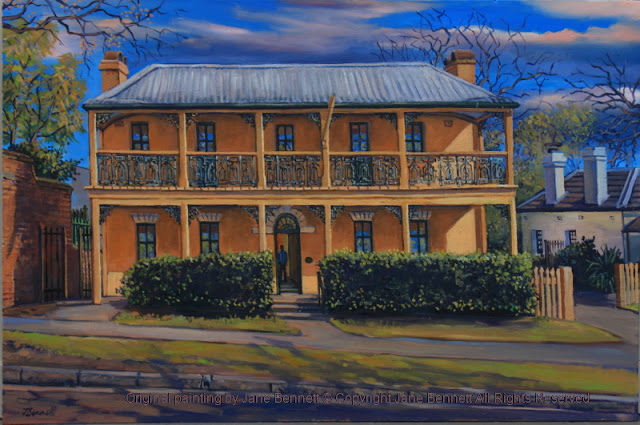 plein air oil painting of colonial heritage architecture,'Howe House' (formerly the Hawkesbury Museum) in Thompson's Square, Windsor, painted by artist Jane Bennett