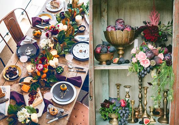 mesa decorada com frutas diversas, figo e romã