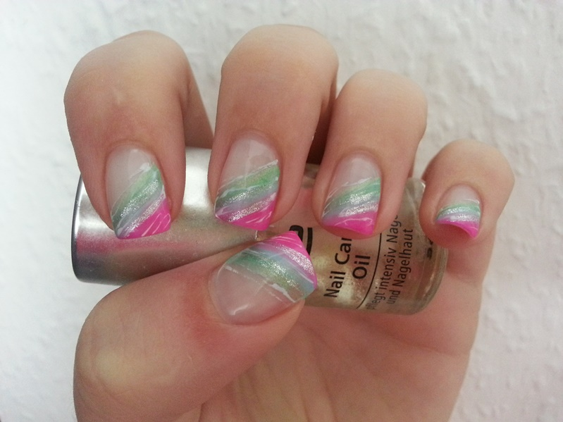 Feel The Beauty Inside Nageldesign Sommer Pink Blau Gru00fcn Mit Silber Glitzer + Weiu00df