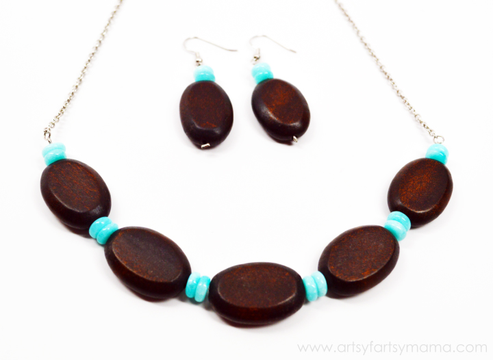 Wood & Amazonite Jewelry Set Tutorial at artsyfartsymama.com #jewelry