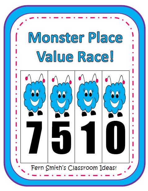 Halloween Monster Place Value Race Center Game