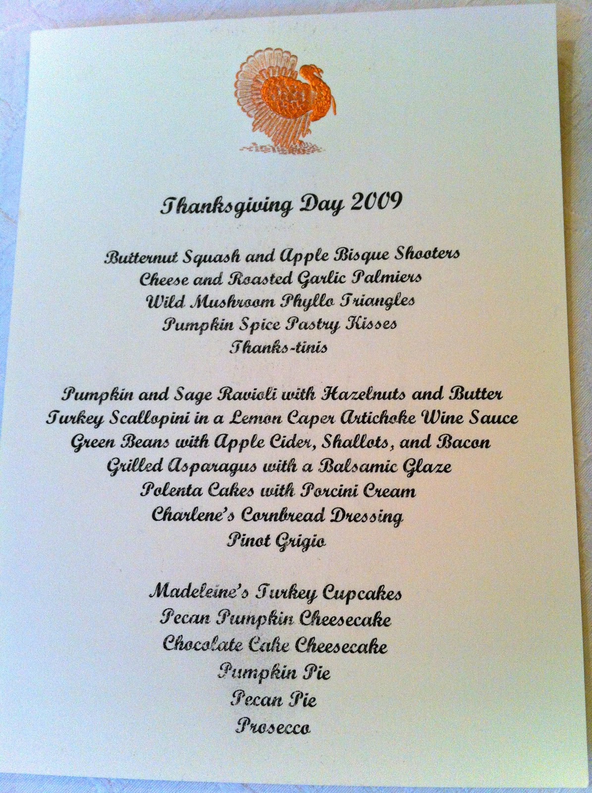 The cul de sac november 2011 for Traditional southern thanksgiving dinner menu