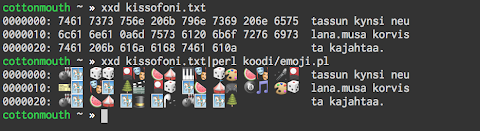 [Image: Terminal screenshot showing a hex dump of a poem and the same with all hex numbers replaced with emoji. kissofoni; tassun kynsi neulana / musa korvista kajahtaa]