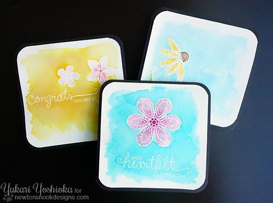 Watercolor Cards by Yukari Yoshioka   Beautiful Blossoms Stamp set by Newton's Nook Designs #newtonsnook #watercolor