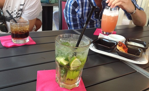 A selection of cockatils in Cannes: Black Russian, Mojito, Sex on the Beach