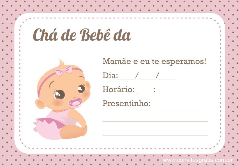 convite cha bebe menina rosa marrom
