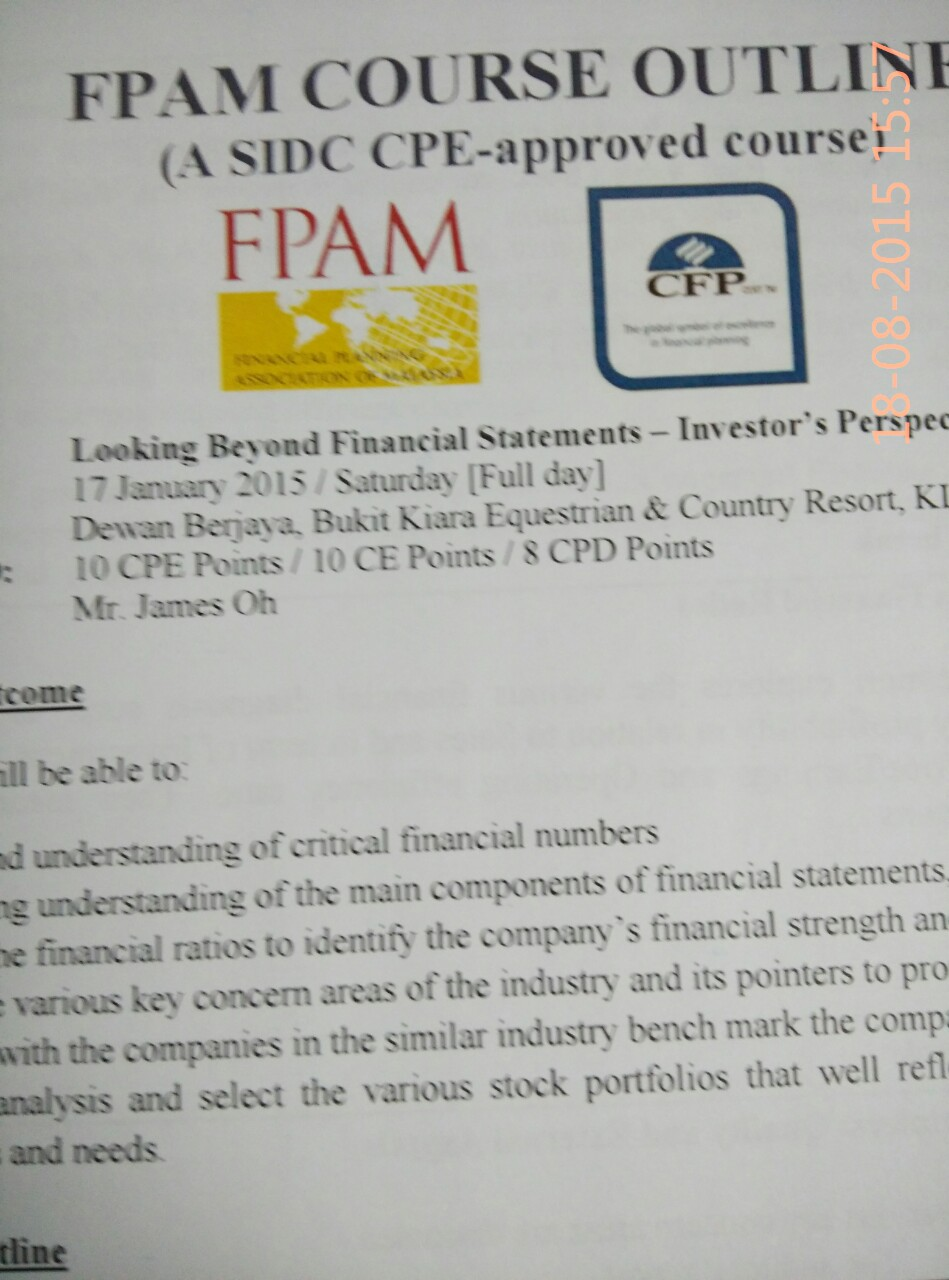 LOOKING BEYOND FINANCIAL STATEMENTS - INVESTOR'S PERSPECTIVE
