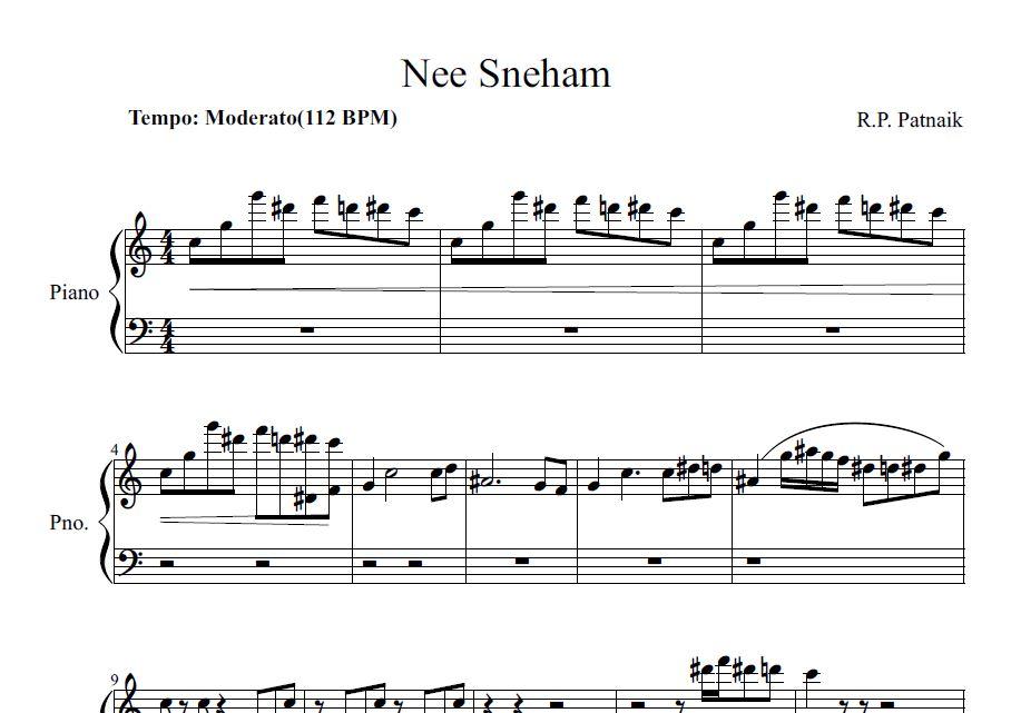 All Music Chords indian music sheet : Nee sneham piano sheet | Sheet music for Indian songs