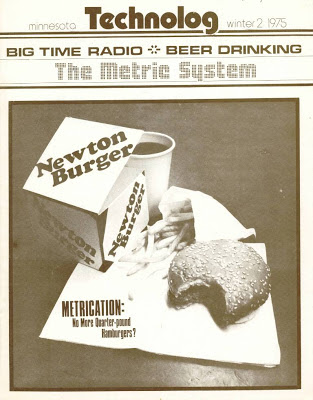 cover illustration of Newton Burger instead o Quarter Pounder, U of Minn Technolog, Feb. 1975
