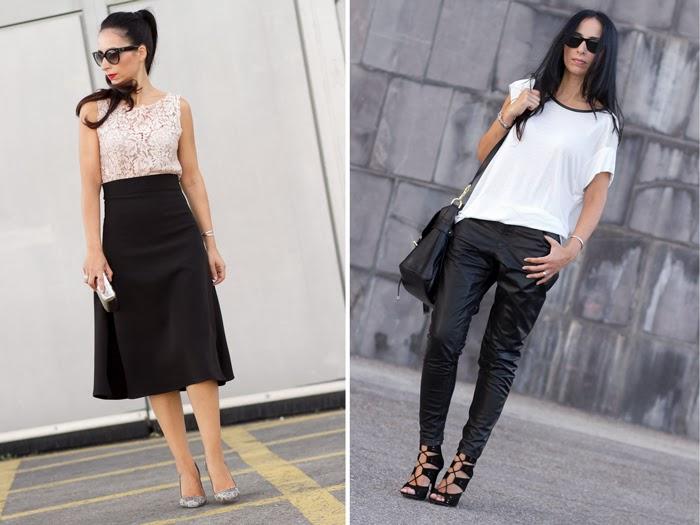 Look elegante falda A + top crochet - Pantalones MUUBAA cuero baggy piel negra