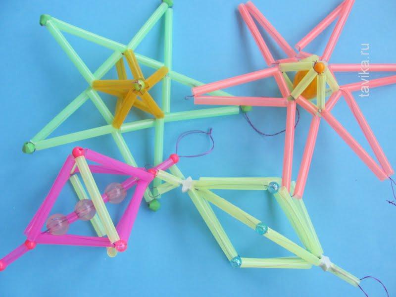 игрушки на елку из коктейльных трубочек - детская поделка на Новый год