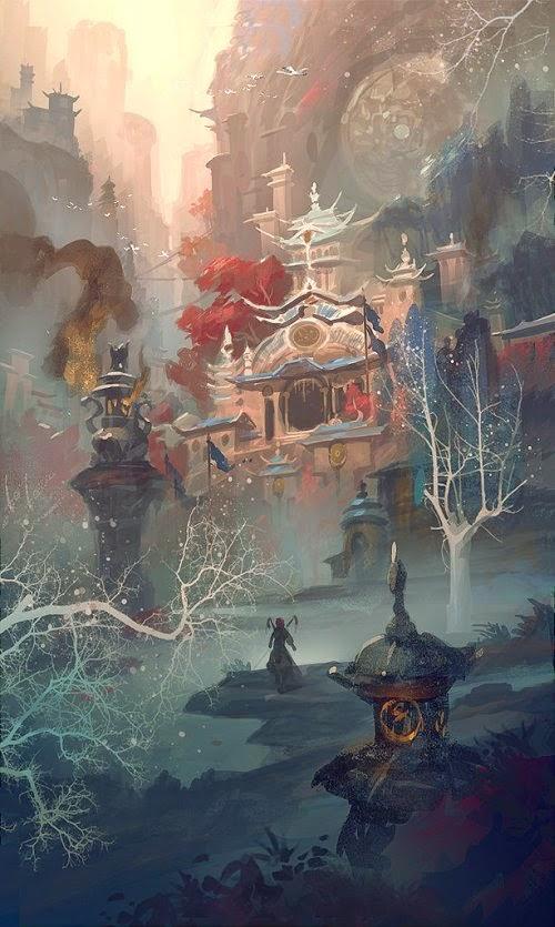 Gao ZhingPing bigballgao ilustrações cenários fantasia ficção científica