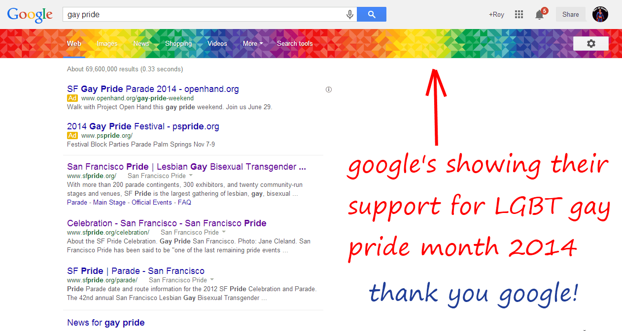 Google supports LGBT Gay Pride month 2014