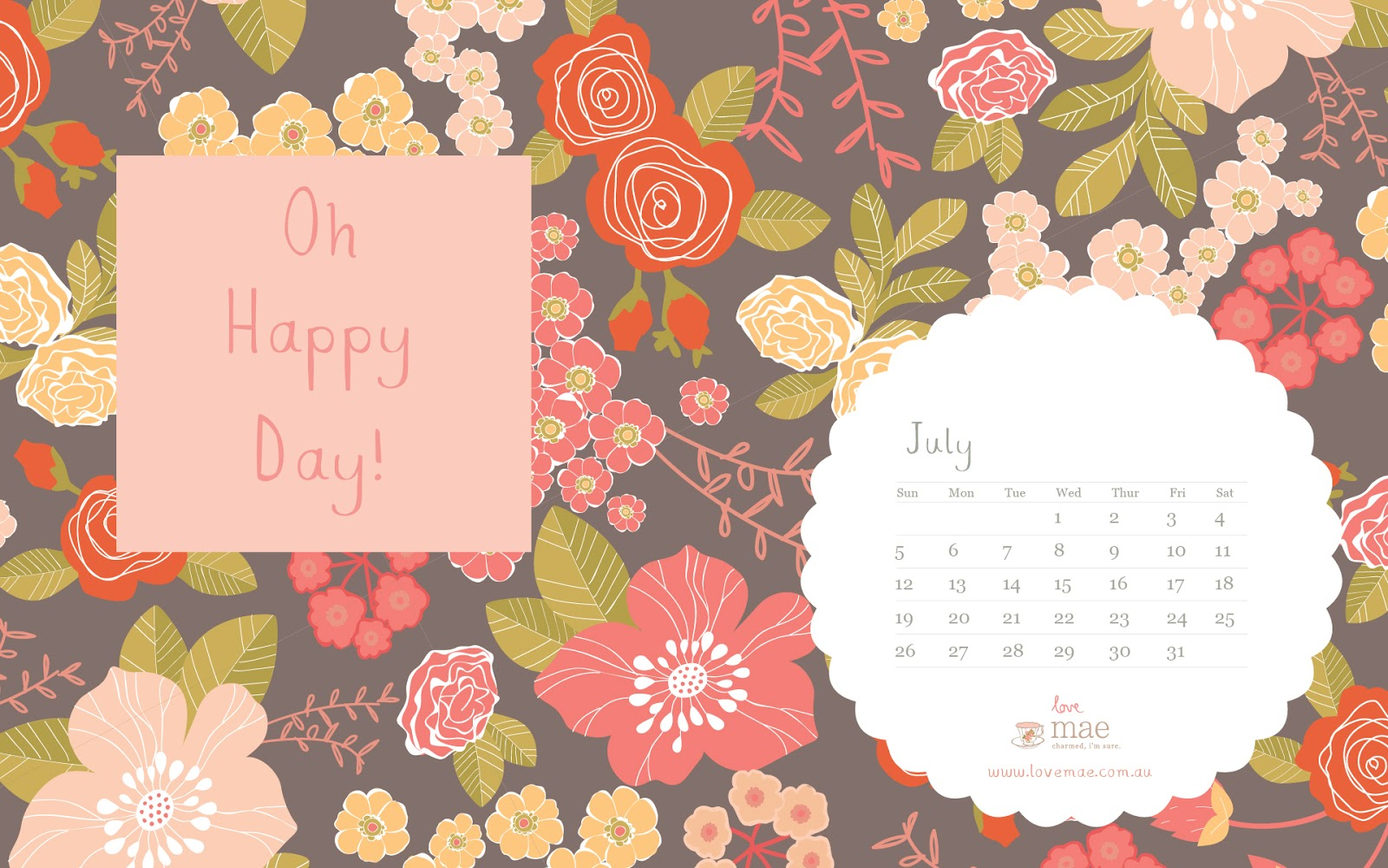 Calendar Wallpaper Love Mae : New desktop calendar for july love mae