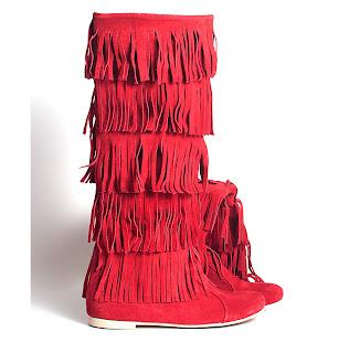 cizme rosii cu franjuri fara toc din piele intoarsa