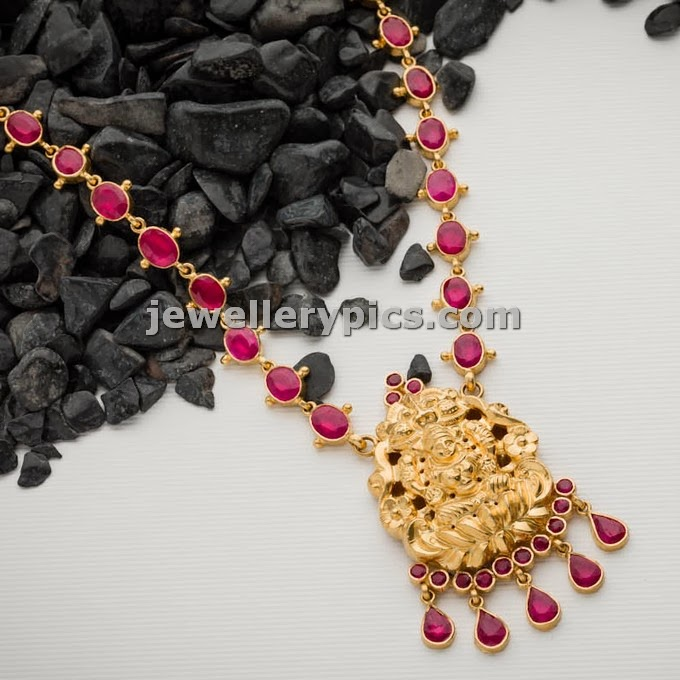 swarnamahal ruby long chain with lakshmi devi pendent