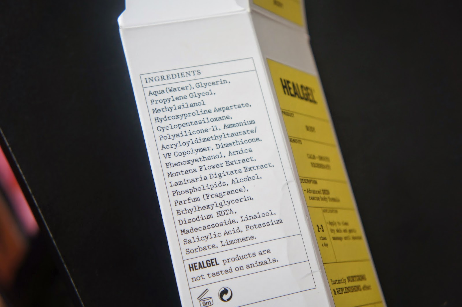 Healgel Body Ingredient List