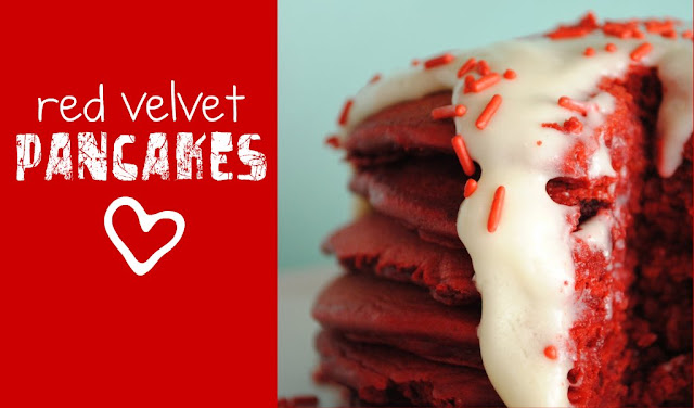 Red Velvet Pancakes & Cream Cheese Frosting - Something Swanky