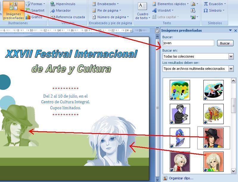 Buscar imágenes o imágenes prediseñadas en línea