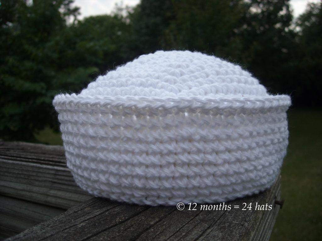 Free Crochet Pattern For Sailor Hat : 12 months = 24 hats: July 2011 hat #3 - Sailor Hat