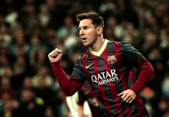 Lionel Messi celebrating against Real Madrid