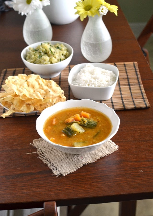 Kerala Lunch Dishes - Kerala Cabbage Thoran & Sambar