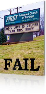 fail gods love deeper than snow funny church sign