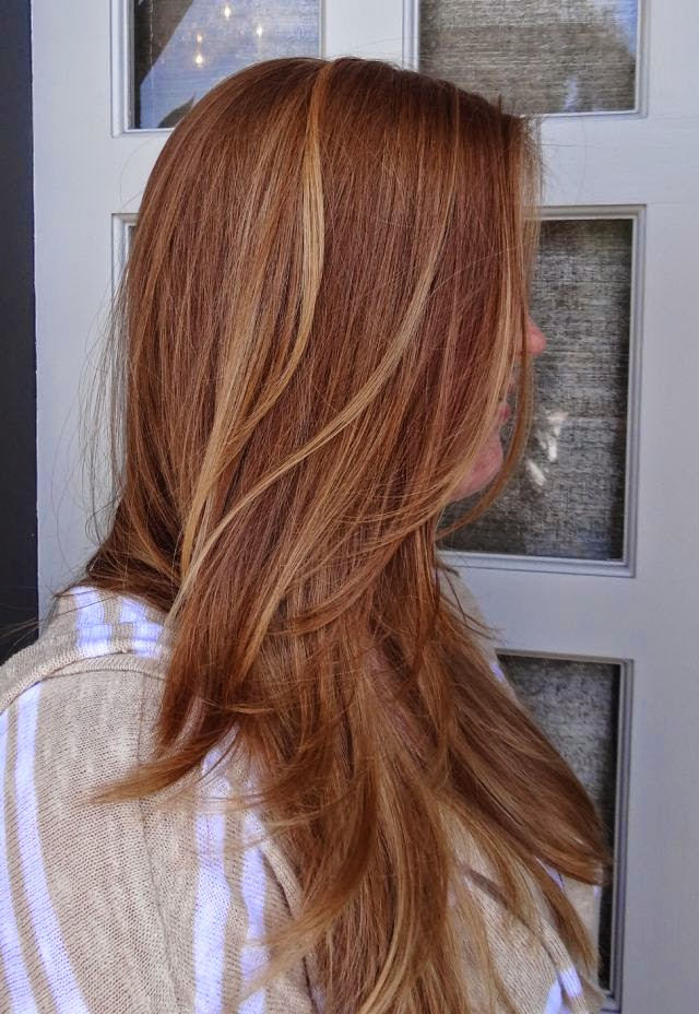 Hairstyles And Women Attire Red Hair With Blonde Highlights