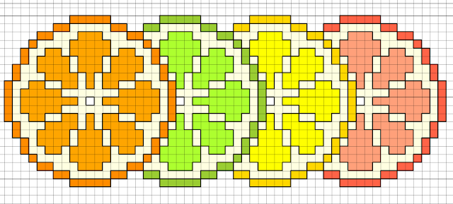 citrus slices free cross stitch pattern