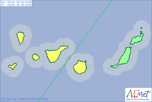 Aviso por lluvias Canarias 18 septiembre