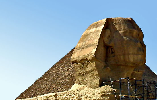close up of Sphinx head