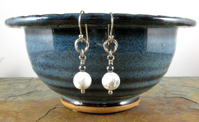 howlite, hematite, & sterling silver earrings
