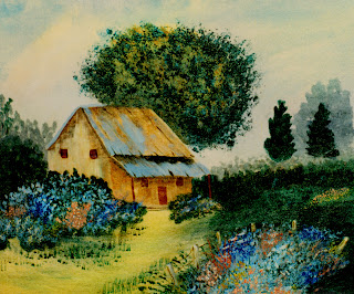 Pintura abstracta de una casa de campo o cabaña