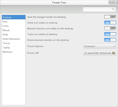 openSUSE 13.1 Milestone 4, GNOME live ISO Gnome Tweak