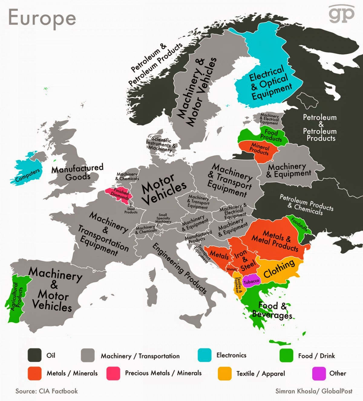 Every Country's Highest-Valued Export In Map Europe