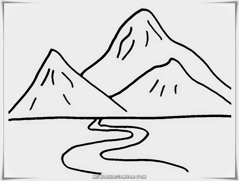 Gambar Mewarnai Gunung Lucu Diwarnai