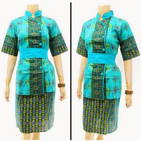 DB3807 Model Baju Dress Batik Modern Terbaru 2014