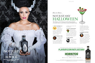 Hornitos Halloween ad featuring Raquel Pomplun from Playboy October 2015