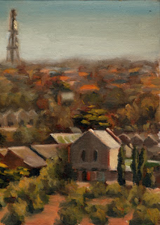 Oil painting of a series of small trees and buildings, with suburban houses and a communications tower in the background.