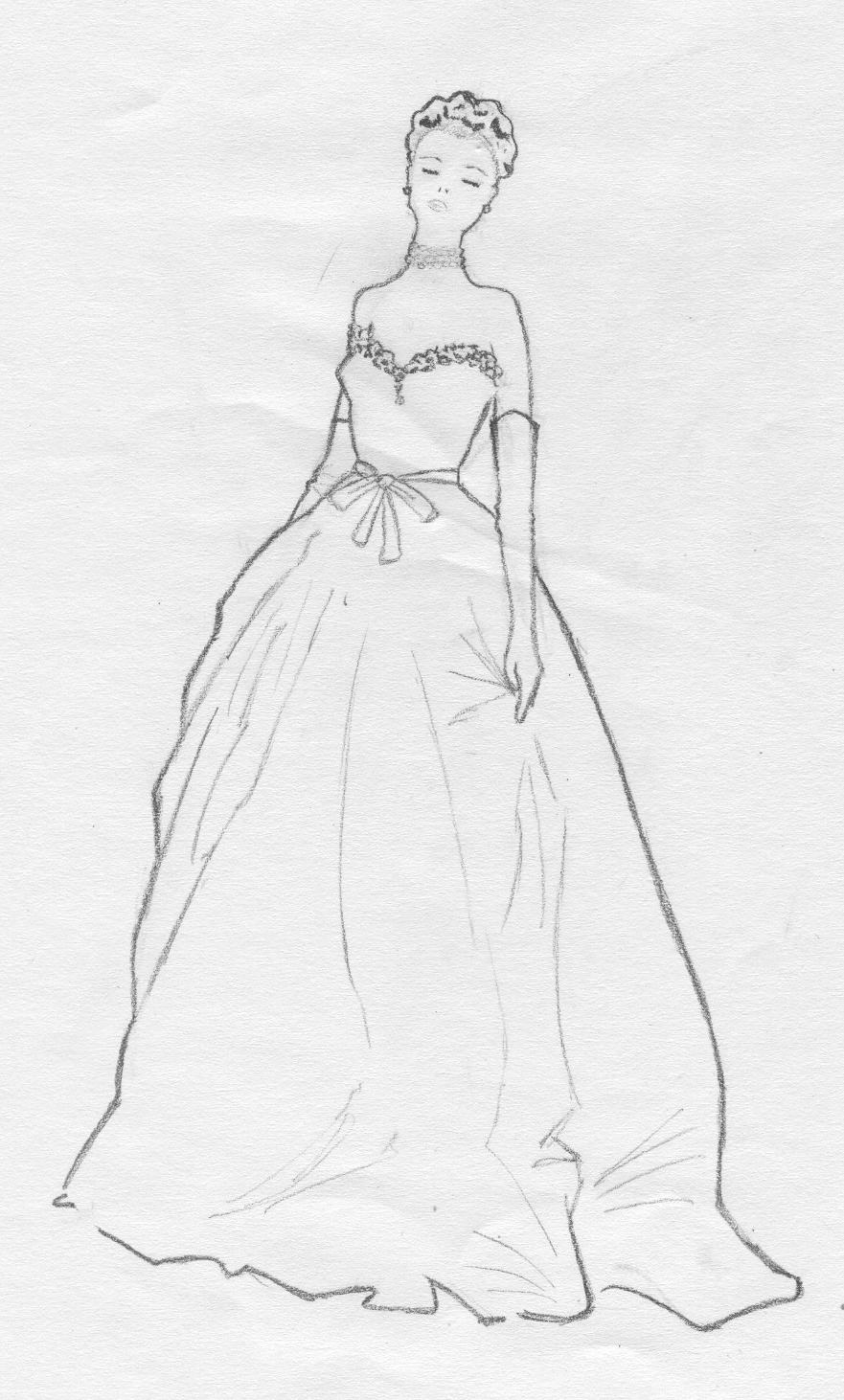 White dress drawing - White Dress Drawing 54