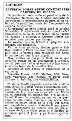 Final del XI Campeonato de España Individual de Ajedrez en ABC, 9 de julio de 1946