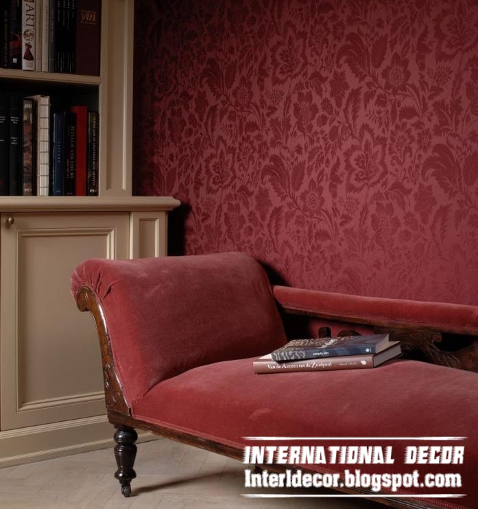Modern Embossed Wallpaper Red For Living Room Interior Design Part 17