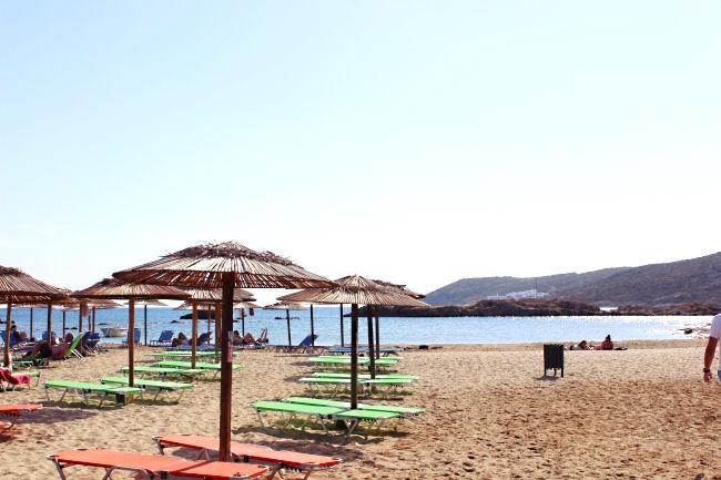 "Manganari beach in Ios island, Greece. Best Ios beaches, golden sand, shallow water. Location for ""Big blue"" movie from 1988."