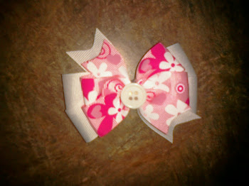 2-layer Pink Flower Bow